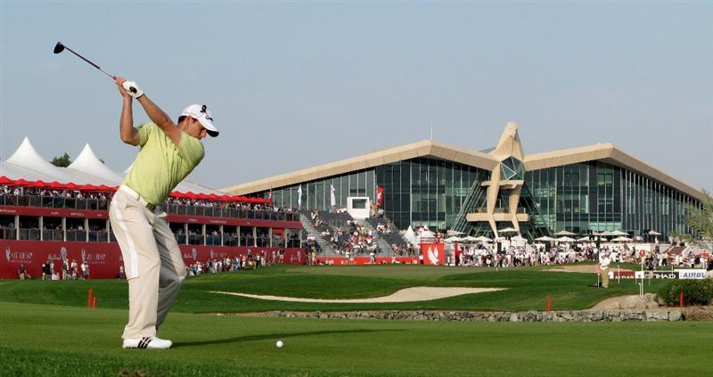 ABU DHABI, UNITED ARAB EMIRATES - JANUARY 23:  Sergio Garcia of Spain on the par five 18th hole  during the third round of the Abu Dhabi Golf Championship at the Abu Dhabi Golf Club on January 23, 2010 in Abu Dhabi, United Arab Emirates.  (Photo by Ross Kinnaird/Getty Images)