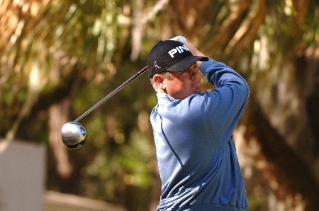 Joey Snyder III tees off on the 16th hole   during  the  second round of the MCI Heritage at Harbour Town Golf Links April 15, 2005  at Hilton Head Island.Photo by Al Messerschmidt/WireImage.com