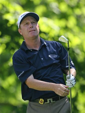 BEACHWOOD, OH - MAY 23: Jeff Sluman hits his tee shot on the 13th hole during the third round of the 70th Senior PGA Championship at Canterbury Golf Club on May 23, 2009 in Beachwood, Ohio. (Photo by Hunter Martin/Getty Images)
