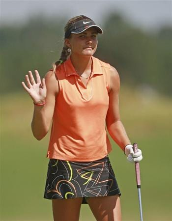 PRATTVILLE, AL - OCTOBER 1: Amateur Alexis Thompson waves on the ninth green after completing her first round play in the Navistar LPGA Classic at the Robert Trent Jones Golf Trail at Capitol Hill on October 1, 2009 in  Prattville, Alabama.  (Photo by Dave Martin/Getty Images)