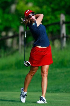 GLADSTONE, NJ - MAY 21:  Paula Creamer hits her tee shot on the 13th hole in round four of the Sybase Match Play Championship at Hamilton Farm Golf Club on May 21, 2011 in Gladstone, New Jersey.  (Photo by Chris Trotman/Getty Images)