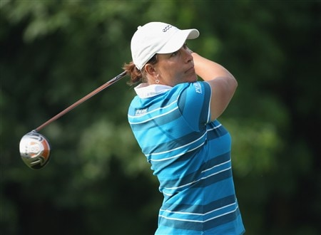 MUNICH, GERMANY - MAY 30:  Iben Tinning of Denmark plays her tee shot on the second hole during the second round of the Hypo Vereinsbank Ladies German Open Golf at Golfpark Gut Hausern on May 30, 2008 near Munich, Germany.  (Photo by Stuart Franklin/Bongarts/Getty Images)