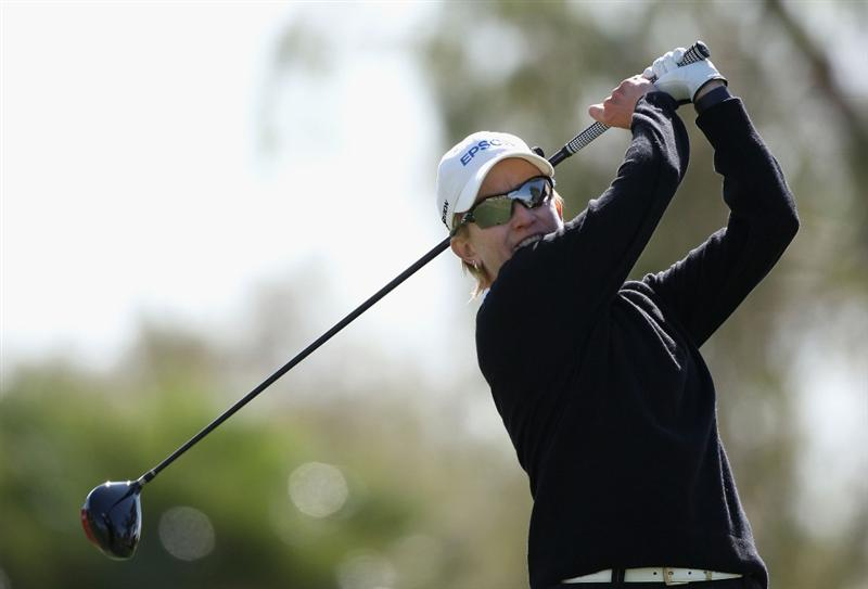 TEMPE, AZ - MARCH 26:  Karrie Webb of Australia tees off on the 15th hole during the first round of the J Golf Phoenix LPGA International golf tournament at Papago Golf Course on March 26, 2009 in Tempe, Arizona.  (Photo by Christian Petersen/Getty Images)