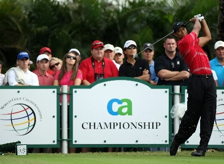 MIAMI - MARCH 23:  Tiger Woods of the USA watches his tee shot at the 16th hole during the completion of the third round of the 2008 World Golf Championships CA Championship at the Doral Golf Resort & Spa, on March 23, 2008 in Miami, Florida.  (Photo by David Cannon/Getty Images)