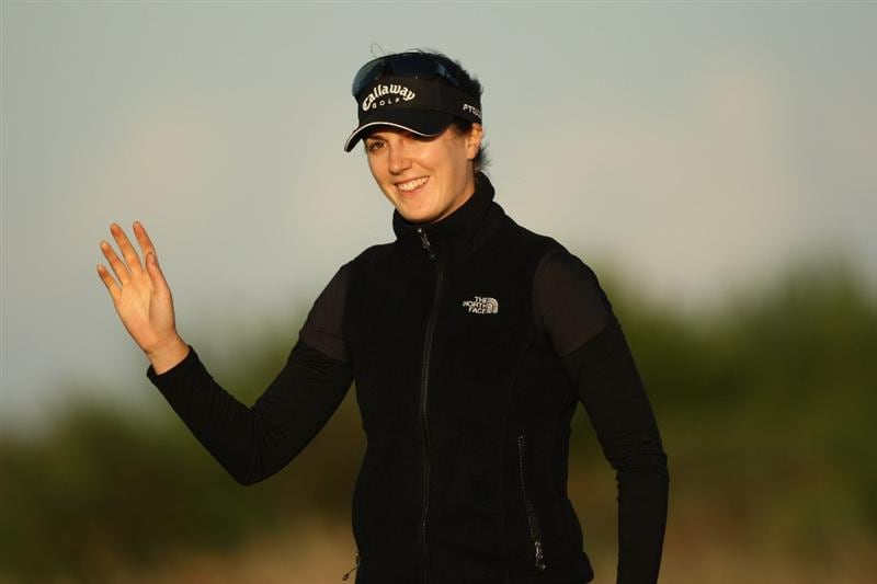LYTHAM ST ANNES, UNITED KINGDOM - JULY 30:  Sandra Gal of Germany acknowledges the crowd on the 15th green after holing a birdie putt during the first round of the 2009 Ricoh Women's British Open Championship held at Royal Lytham St Annes Golf Club, on July 30, 2009 in  Lytham St Annes, England. (Photo by Warren Little/Getty Images)