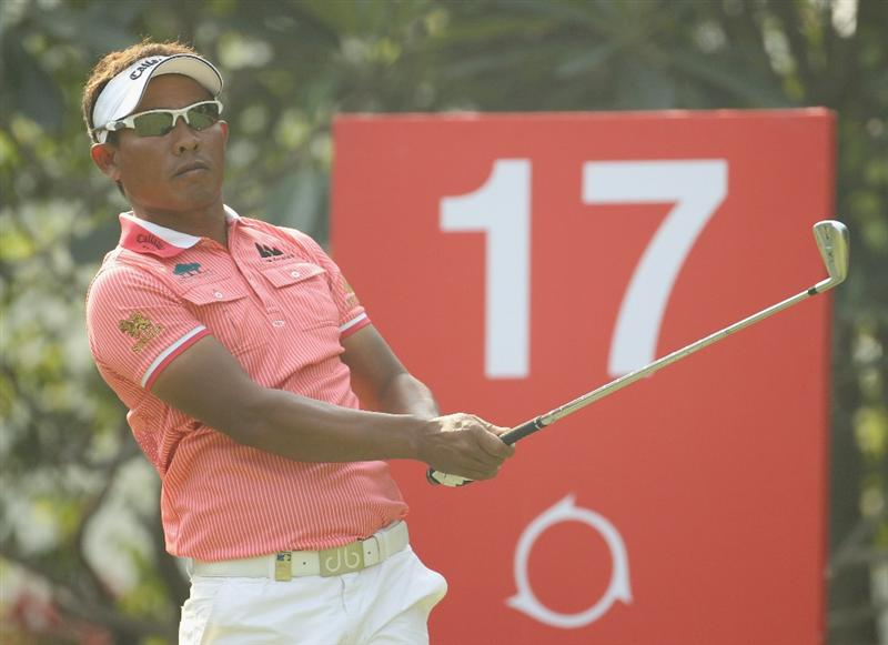NEW DELHI, INDIA - FEBRUARY 19:  Thongchai Jaidee of Thailand in action during the second round of the Avantha Masters held at The DLF Golf and Country Club on February 19, 2011 in New Delhi, India.  (Photo by Ian Walton/Getty Images)