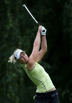 PORTLAND, OR - AUGUST 25:  Minea Blomqvist tees off on the 13th hole during the second round of LPGA Safeway Classic at the Columbia Edgewater Country Club August 25, 2007 in Portland, Oregon.  (Photo by Jonathan Ferrey/Getty Images)