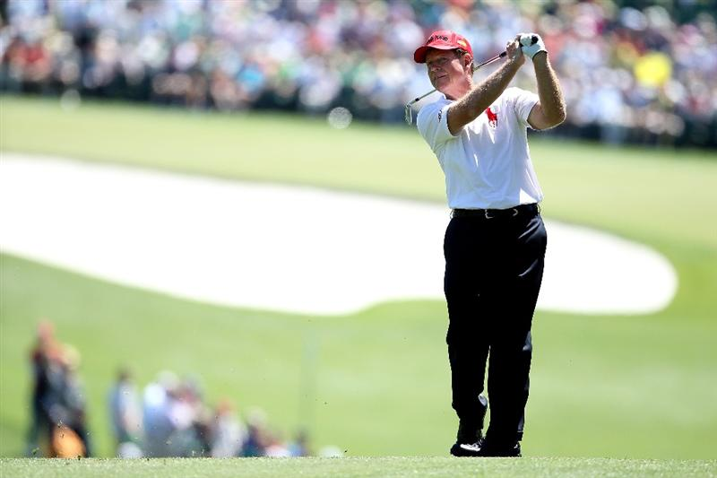 AUGUSTA, GA - APRIL 07:  Tom Watson hits a shot during the first round of the 2011 Masters Tournament at Augusta National Golf Club on April 7, 2011 in Augusta, Georgia.  (Photo by Andrew Redington/Getty Images)