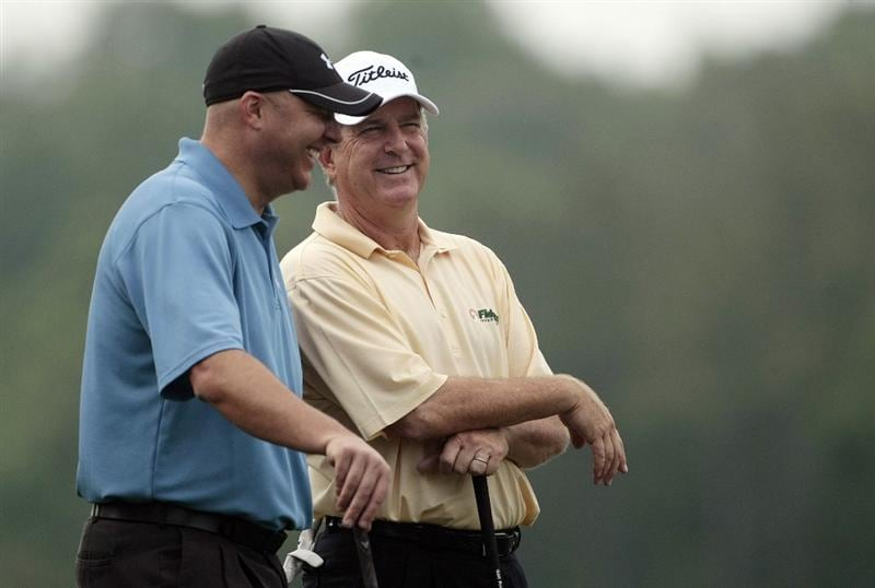 BIRMINGHAM, AL - MAY 14: Auburn basketball coach Jeff Lebo (L) talks with Jay Haas as they wait to tee off on the fifth hole during the Thursday Pro-AM of the Regions Charity Classic at the Robert Trent Jones Golf Trail at Ross Bridge on May 14, 2009  in Birmingham, Alabama. (Photo by Dave Martin/Getty Images)