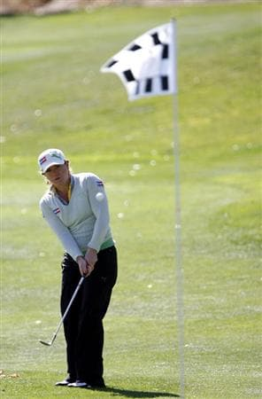 DANVILLE, CA - OCTOBER 10: Mikaela Parmlid of Sweden chips toward the 13th hole during the second round of the LPGA Longs Drugs Challenge at the Blackhawk Country Club October 10, 2008 in Danville, California. (Photo by Max Morse/Getty Images)
