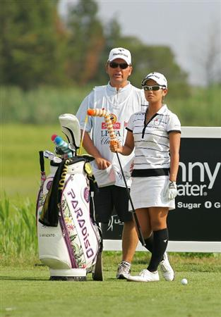 GALLOWAY, NJ - JUNE 20:  Ai Miyazato of Japan stands by her bag on the 15th tee during the final round of the ShopRite LPGA Classic held at Dolce Seaview Resort (Bay Course) on June 20, 2010 in Galloway, New Jersey.  (Photo by Michael Cohen/Getty Images)