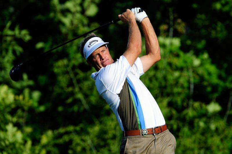 CHASKA, MN - AUGUST 13:  Stuart Appleby of Australia watches his tee shot on the tenth hole during the first round of the 91st PGA Championship at Hazeltine National Golf Club on August 13, 2009 in Chaska, Minnesota.  (Photo by Sam Greenwood/Getty Images)