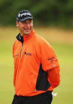 CARNOUSTIE, UNITED KINGDOM - JULY 21:  Chris DiMarco of the USA waits on the 14th hole during the third round of The 136th Open Championship at the Carnoustie Golf Club on July 21, 2007 in Carnoustie, Scotland.  (Photo by Stuart Franklin/Getty Images)
