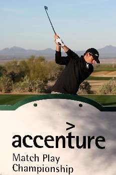 MARANA, AZ - FEBRUARY 19:  Sergio Garcia of Spain hits a shot during a practice round prior to the start of the Accenture Match Play Championship at The Gallery Golf Club at Dove Mountain on February 19, 2008 in Marana, Arizona.  (Photo by Scott Halleran/Getty Images)