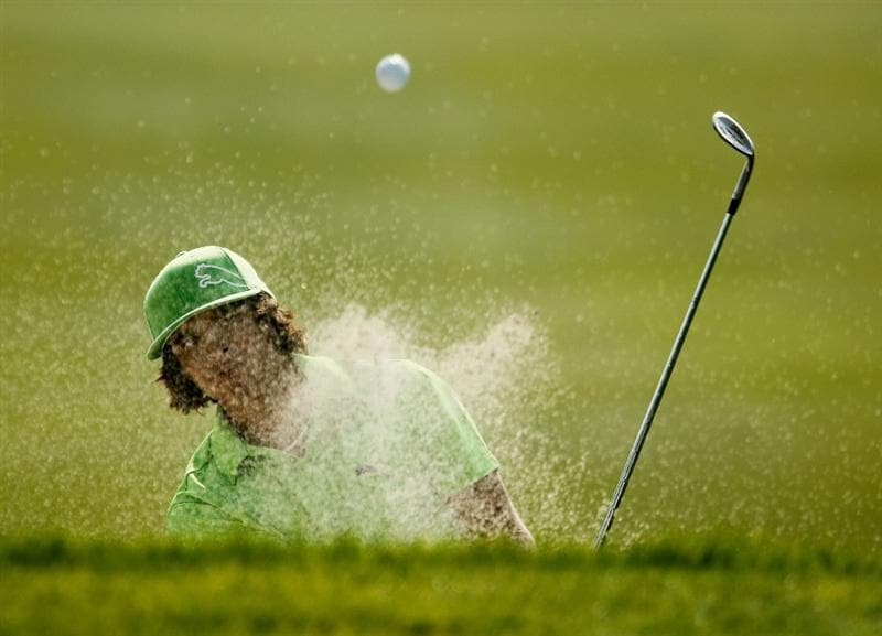 SHANGHAI, CHINA - NOVEMBER 05:  Rickie Fowler of the USA plays a bunker shot on the third hole during the second round of the HSBC Champions at the Sheshan Golf Club on November 5, 2010 in Shanghai, China.  (Photo by Scott Halleran/Getty Images)