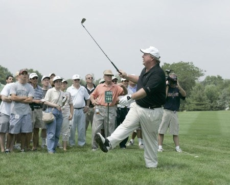 Craig Stadler plays from the rough on the 18th during the first round of the 2005 Commerce Bank Championship at Eisenhower Park in East Meadow, New York on July 1, 2005.Photo by Michael Cohen/WireImage.com