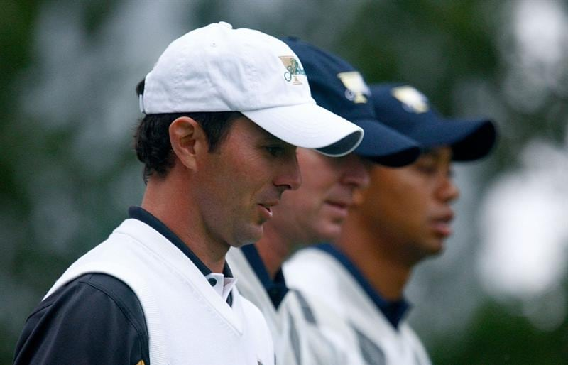SAN FRANCISCO - OCTOBER 10:  Mike Weir of the International Team walks alongside Steve Stricker and Tiger Woods of the USA Team during the Day Three Morning Foursome Matches of The Presidents Cup at Harding Park Golf Course on October 10, 2009 in San Francisco, California.  (Photo by Scott Halleran/Getty Images)