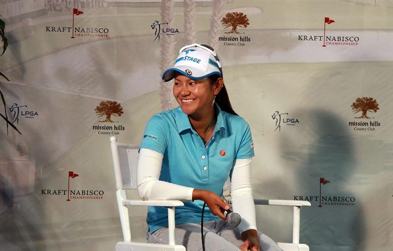 RANCHO MIRAGE, CA - MARCH 31:  Ai Miyazato of Japan at her media interview after the pro-am as a preview for the 2010 Kraft Nabisco Championship, on the Dinah Shore Course at The Mission Hills Country Club, on March 31, 2010 in Rancho Mirage, California.  (Photo by David Cannon/Getty Images)