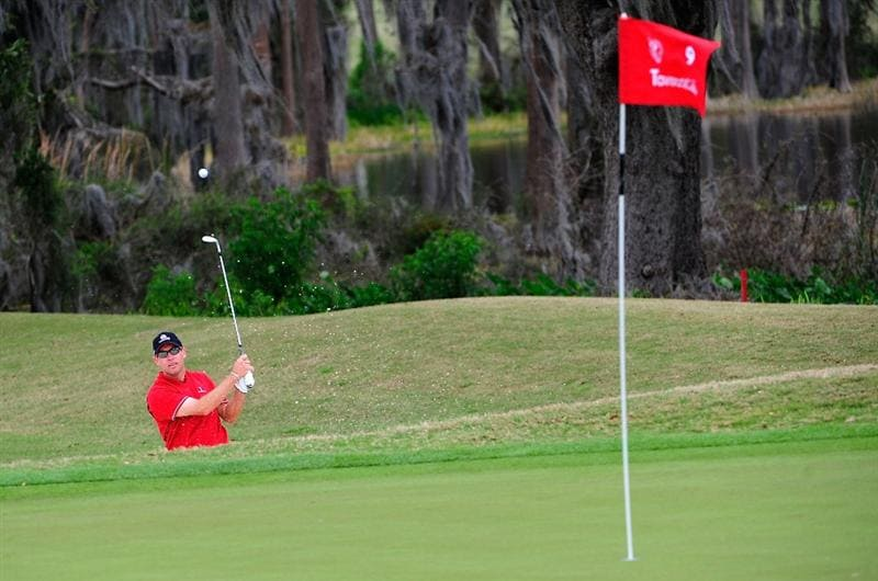 ORLANDO, FL - MARCH 22:  Brian Davis of England plays a shot on the 9th hole during the first day's play in the 2010 Tavistock Cup at Isleworth Golf and Country Club on March 22, 2010 in Orlando, Florida.  (Photo by Sam Greenwood/Getty Images)