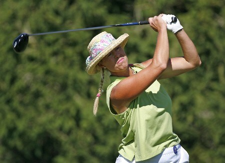 SPRINGFIELD, IL - AUGUST 31: Michelle McGann hits her tee shot on the 16th hole during the second round of the State Farm Classic at Panther Creek Country Club on August 31, 2007 in Springfield, Illinois. (Photo by Hunter Martin/Getty Images)