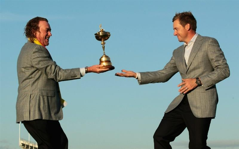 NEWPORT, WALES - OCTOBER 04:  (L-R) European Team members Miguel Angel Jimenez and Ian Poulter pose with the Ryder Cup following Europe's 14.5 to 13.5 victory over the USA at the 2010 Ryder Cup at the Celtic Manor Resort on October 4, 2010 in Newport, Wales.  (Photo by David Cannon/Getty Images)
