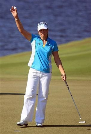 WEST PALM BEACH, FL - NOVEMBER 21:  Annika Sorenstam of Sweden waves to the gallery on the 18th green as she completed her last official LPGA event during the second round of the ADT Championship at the Trump International Golf Club on November 21, 2008 in West Palm Beach, Florida.  (Photo by Scott Halleran/Getty Images)