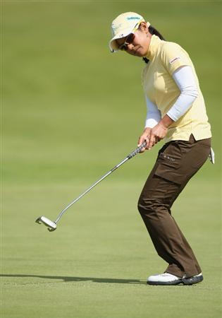 LYTHAM ST ANNES, ENGLAND - AUGUST 01:  Ai Miyazato of Japan misses a putt on the 15th green during the third round of the 2009 Ricoh Women's British Open Championship held at Royal Lytham St Annes Golf Club, on August 1, 2009 in Lytham St Annes, England.  (Photo by David Cannon/Getty Images)