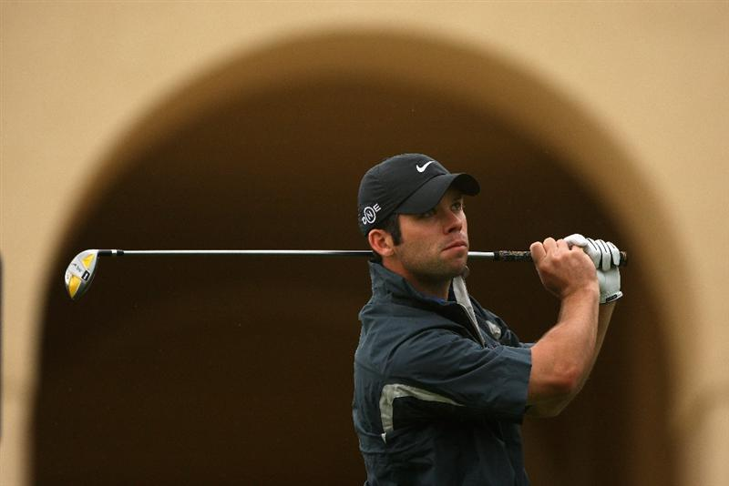 SOTOGRANDE, SPAIN - NOVEMBER 01:  Paul Casey of England hits his tee-shot on the tenth hole during the second round of the Volvo Masters at Valderrama Golf Club on November 1, 2008 in Sotogrande, Spain.  (Photo by Andrew Redington/Getty Images)