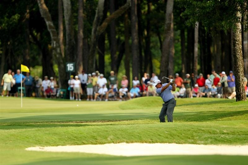 PONTE VEDRA BEACH, FL - MAY 13:  Phil Mickelson hits his aaproach on the 15th hole during the second round of THE PLAYERS Championship held at THE PLAYERS Stadium course at TPC Sawgrass on May 13, 2011 in Ponte Vedra Beach, Florida.  (Photo by Mike Ehrmann/Getty Images)