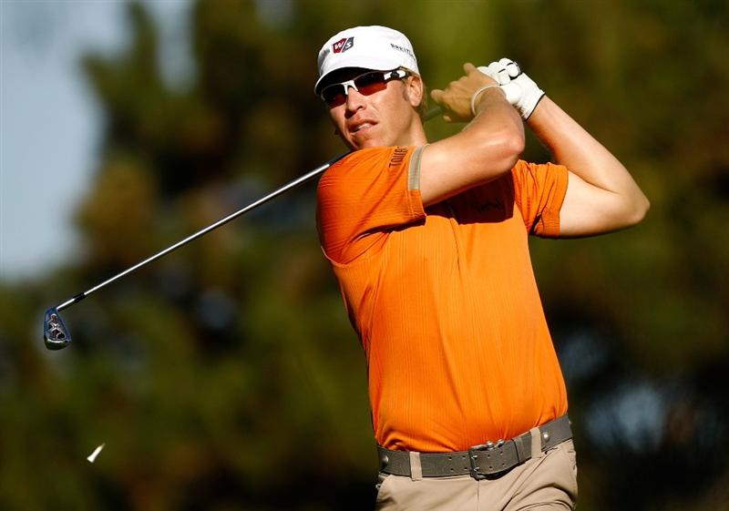 BOISE, ID - SEPTEMBER 18:  Ricky Barnes tees off on the 6th hole during the second round of the Albertson's Boise Open at Hillcrest Country Club on September 18, 2009 in Boise, Idaho.  (Photo by Jonathan Ferrey/Getty Images)