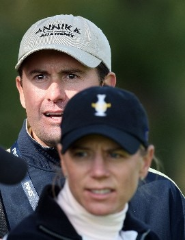 HALMSTAD, SWEDEN - SEPTEMBER 15:  Annika Sorenstam (R) of Sweden and the European Team looks on with her fiancee Mike McGee during the morning foursome matches of the 2007 Solheim Cup, held at the Halmstad Golf Club September 15, 2007 in Halmstad, Sweden.  (Photo by David Cannon/Getty Images)