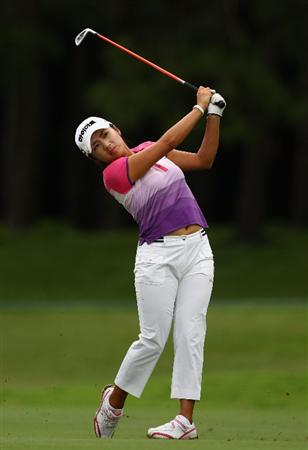 GOLD COAST, AUSTRALIA - MARCH 06:  Bo-Mee Lee of Korea plays an approach shot on the 18th hole during round three of the 2010 ANZ Ladies Masters at Royal Pines Resort on March 6, 2010 in Gold Coast, Australia.  (Photo by Ryan Pierse/Getty Images)