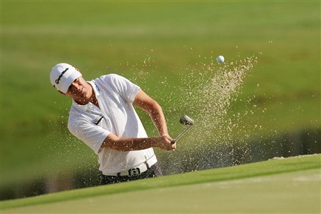 PONTE VEDRA BEACH, FL - MAY 07:  Robert Garrigus hits a shot out of a bunker during practice for the THE PLAYERS Championship on THE PLAYERS Stadium Course at TPC Sawgrass on May 7, 2008 in Ponte Vedra Beach, Florida.  (Photo by Sam Greenwood/Getty Images)