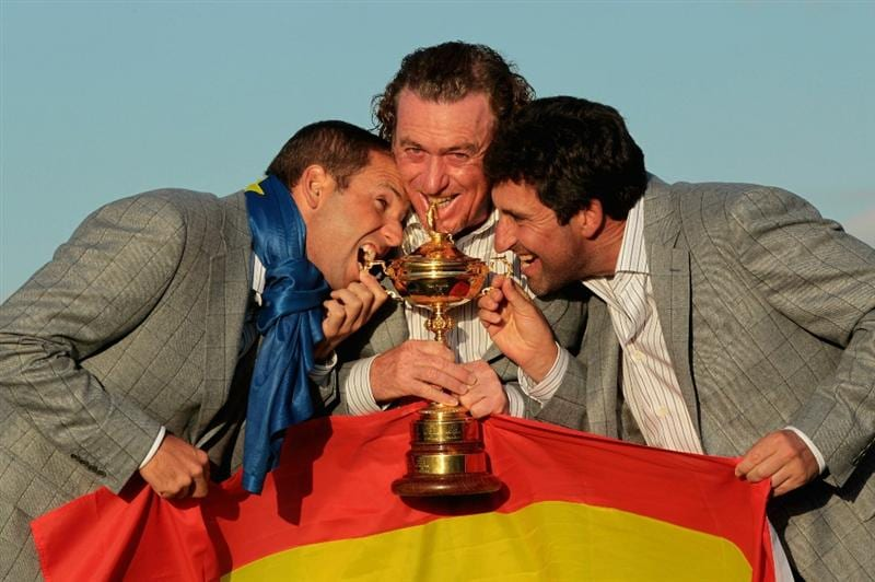 NEWPORT, WALES - OCTOBER 04:  (L-R) European Team members Sergio Garcia, Miguel Angel Jimenez and Jose Maria Olazabal pose with the Ryder Cup following Europe's 14.5 to 13.5 victory over the USA at the 2010 Ryder Cup at the Celtic Manor Resort on October 4, 2010 in Newport, Wales.  (Photo by David Cannon/Getty Images)