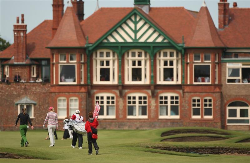LYTHAM ST ANNES, UNITED KINGDOM - AUGUST 01: Samantha Head of England and Brittany Lang of USA walk towards the 18th green during the third round of the 2009 Ricoh Women's British Open Championship held at Royal Lytham St Annes Golf Club, on August 1, 2009 in Lytham St Annes, England. (Photo by Warren Little/Getty Images)