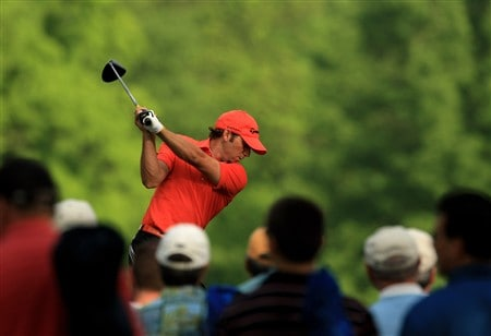 CHARLOTTE, NC - MAY 02:  Sergio Garcia of Spain tee's off at the 4th during the second round of the Wachovia Championship at Quail Hollow Country Club on May 2, 2008 Charlotte, North Carolina.  (Photo by Richard Heathcote/Getty Images)