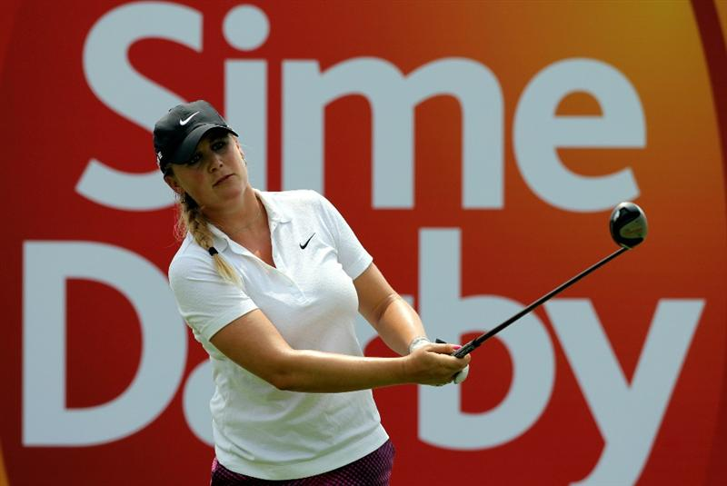 KUALA LUMPUR, MALAYSIA - OCTOBER 23 : Amanda Blumenhurst of USA tees off on the 8th hole during Round Two of the Sime Darby LPGA on October 23, 2010 at the Kuala Lumpur Golf and Country Club in Kuala Lumpur, Malaysia. (Photo by Stanley Chou/Getty Images)