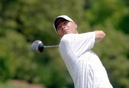 Joel Kribel tees off during the final round of the Chattanooga Classic at Black Creek Club in Chattanooga, Tennessee on June 5, 2005.Photo by Joe Murphy/WireImage.com