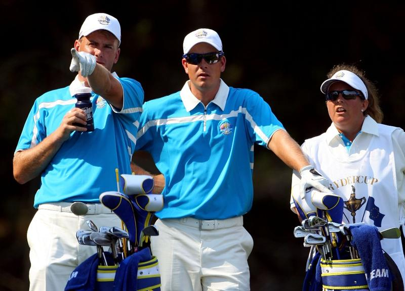 LOUISVILLE, KY - SEPTEMBER 20:  Robert Karlsson and Henrik Stenson of the European team wait on the fourth tee as Fanny Sunesson looks on during the afternoon four-ball matches on day two of the 2008 Ryder Cup at Valhalla Golf Club on September 20, 2008 in Louisville, Kentucky.  (Photo by Andrew Redington/Getty Images)