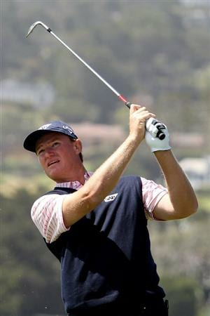 PEBBLE BEACH, CA - JUNE 17:  Ernie Els of South Africa watches his tee shot on the fifth hole during the first round of the 110th U.S. Open at Pebble Beach Golf Links on June 17, 2010 in Pebble Beach, California.  (Photo by Ross Kinnaird/Getty Images)