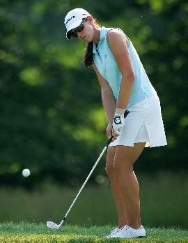 HAVRE DE GRACE, MD - JUNE 08:  Nicole Castrale hits her third shot on the par 5 8th hole during the second round of the McDonalds LPGA Championship at Bulle Rock golf course on June 8, 2007 in Havre de Grace, Maryland.  (Photo by Andy Lyons/Getty Images)