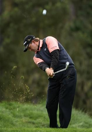 PEBBLE BEACH, CA - FEBRUARY 14:  Retief Gossen of South Africa hits his tee shot on the 12th hole  during the third round of the the AT&T Pebble Beach National Pro-Am at Spyglass Hill Golf Course on February 14, 2009 in Pebble Beach, California.  (Photo by Stephen Dunn/Getty Images)