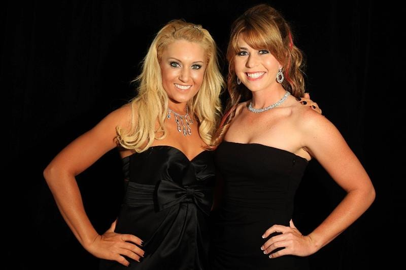 SINGAPORE - MARCH 04:  Natalie Gulbis and Paula Creamer of the USA pose for a portrait during the welcome reception at the Asian Civilisations Museum prior to the start of the HSBC Women's Champions on March 4, 2009 in Singapore  (Photo by Scott Halleran/Getty Images)