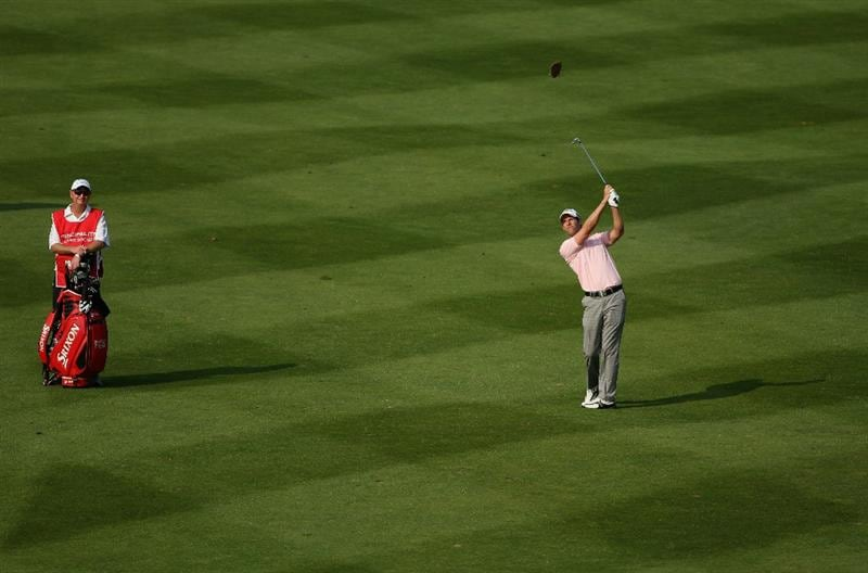 NEWPORT, WALES - JUNE 04:  Bradley Dredge of Wales plays his third shot on the 18th hole during the second round of the Celtic Manor Wales Open on The Twenty Ten Course at The Celtic Manor Resort on June 4, 2010 in Newport, Wales.  (Photo by Andrew Redington/Getty Images)