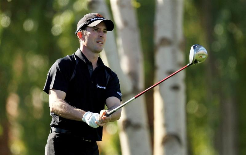 LA QUINTA, CA - JANUARY 25:  Mike Weir of Canada watches his tee shot on the second hole at the Palmer Private course at PGA West during the final round of the Bob Hope Classic on January 25, 2010 in La Quinta, California.  (Photo by Stephen Dunn/Getty Images)