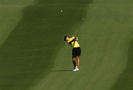 RANCHO MIRAGE, CA - APRIL 06:  Hee-Won Han of Korea hits her third shot on the second hole during the final round of the Kraft Nabisco Championship at Mission Hills Country Club on April 6, 2008 in Rancho Mirage, California.  (Photo by Stephen Dunn/Getty Images)
