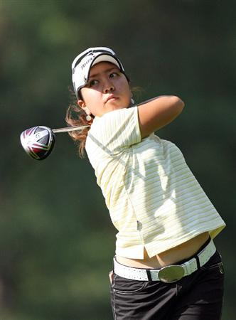 WILLIAMSBURG, VA - MAY 07:  Mika Miyazato of Japan hits her tee shot on the 8th hole during the first round of the Michelob Ultra Open at Kingsmill Resort on May 7, 2009 in Williamsburg, Virginia.  (Photo by Hunter Martin/Getty Images)
