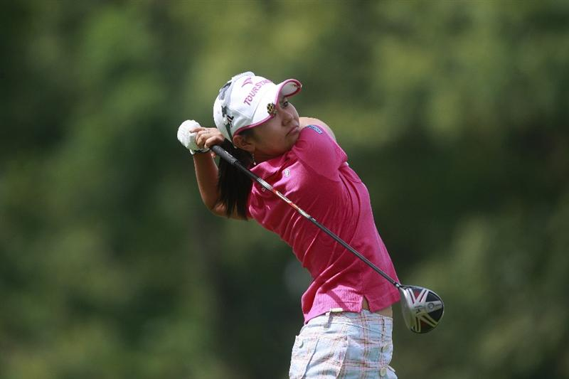 ROGERS, AR - SEPTEMBER 11:  Ai Miyazato of Japan watches her drive from the 16th tee during first round play in the P&G Beauty NW Arkansas Championship at the Pinnacle Country Club on September 11, 2009 in Rogers, Arkansas.  (Photo by Dave Martin/Getty Images)