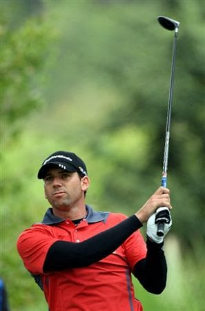CASTELLO, SPAIN - OCTOBER 24:  Sergio Garcia of Spain watches his tee shot on the first hole during the second round of the Castello Masters Costa Azahar at the Club de Campo del Mediterraneo on October 24, 2008 in Castello, Spain.  (Photo by Stuart Franklin/Getty Images)