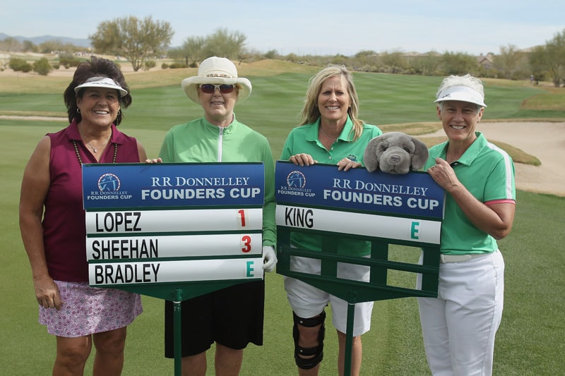 Nancy Lopez, Pat Bradley, Betsy King and Patty Sheehan at the RR Donnelley LPGA Founders Cup at the JW Marriott Desert Ridge Resort & Spa in Phoenix, Ariz.